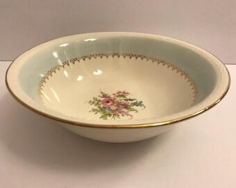 """Vtg Homer Laughlin 8"""" Round Vegetable Bowl Eggshell Georgian Blue Roses Gold"""