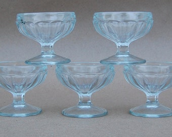 Vintage Jeannette Clear Glass Footed Dessert Dishes