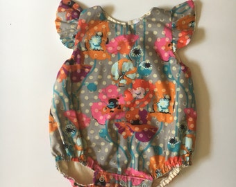 baby romper- romper- floral romper- Baby Bubble Romper- Ruffle Romper - Romper - Fall Baby romper-toddler romper- girl birthday outfit-
