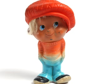 Vintage Rubber toy, Rubber Doll with original hat and hair, Soft rubber boy doll, Collectible doll, Vintage Soviet Era Retro Russian Rubber