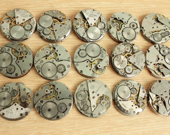 """lot of 15 watch movements - 1 """" / jewelry supplies / Steampunk supplies /  Watch movements for art / Vintage / Steampunk Findings"""