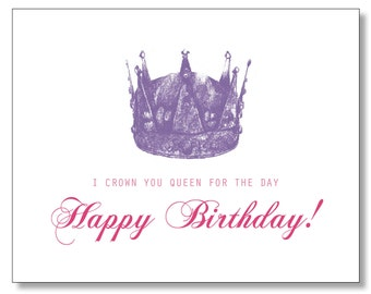 HILARIOUS QUEEN Happy BIRTHDAY card. Princess Birthday Card. Tiara. Little Princess Card. Queen for the day. Birthday Crown