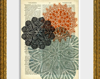 DOILY LOVE 01 recycled book page art print - antique 1800's dictionary page with an original graphic design - home decor - vintage charm