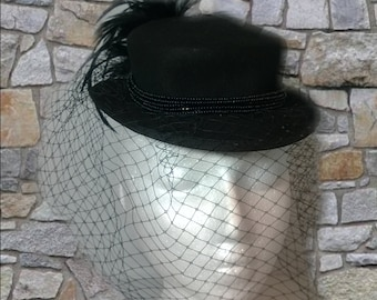 Black Felt Vieled Hat, with beaded band and back rooster feathers