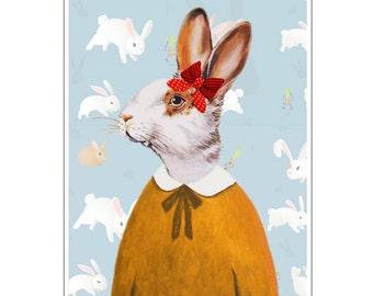 Rabbit Print, Rabbit Art Print, Rabbit Bunny Print, Rabbit Art, Bunny Print, Rabbit Wall Art, Paper, 8x10,Blue, Girl, Art Print, Painting