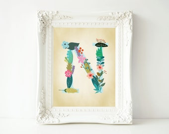 "Printable 8x10 Wall Art ""N"" Monogram Initial Nursery Art Home Dorm room"