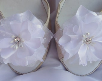 Bridal Shoes Clips, Charmeuse Organza Shoe Clips, Flower Shoe Clips, Wedding Accessories, REX16-203