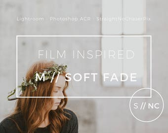 Soft Fade Lightroom Preset: light and airy vintage filmic filter  for portraits, weddings, editorials