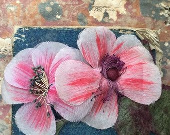 Antique Beautiful double pink hand-painted silk handmade millinery camelia flower corsage with stamens, vintage wedding hat boutonniere