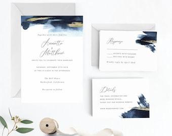 Modern Gold Dust Nautical Blue Wedding Invitation Suite, Wedding Invitation Printable,Invitation Set, PDF Letter or A4 (Item code: P1083)