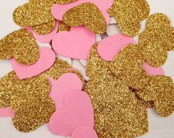 Pink and gold glitter heart confetti weddings parties bridal shower babyshower candy buffet table