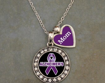 Alzheimer's Mom Purple Ribbon Rhinestone Necklace with Two Charms also available in Alzheimers Husband, Dad, Grandma, Grandpa, Wife