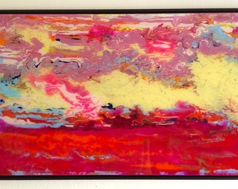 Large Contemporary Painting on Plexiglass Abstract art Framed Ready to Hang One of a Kind