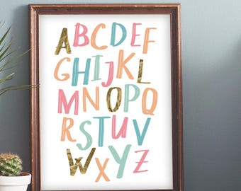 ABC Alphabet Nursery Cute Gold foil Poster Kids Playroom 16x20 8x10 A3 A4 Wall Decor Art Instant Download Digital Printable