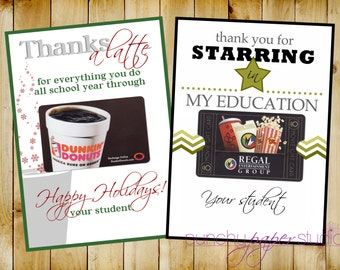 Gift Card Holders for Teacher Gifts -  A Holiday and End of the School Year  Version - Printable 5 x 7's