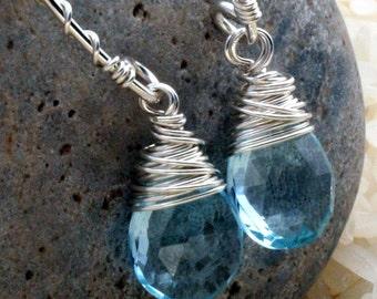 Topaz Earrings, Swiss Blue Topaz Earrings, Blue Topaz Earrings, Blue Stone Earrings, Something Blue, Drop Earrings, Gemstone Earrings