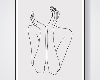 sketch #29 ART PRINT minimalist LINE art woman body lines Self drawing interior design minimal decor home artwork A4 limited