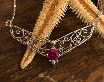 Sterling silver filigree necklace