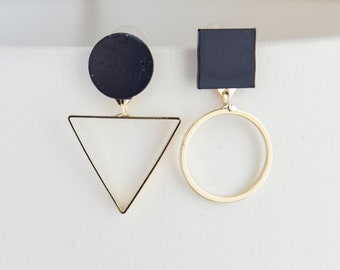 Mismatched circle square geometric boho earrings dainty earrings for her, black, gold triangle' earrings golden boho earrings, gift for her