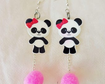 Pink Panda Pom Pom Dangle Earrings