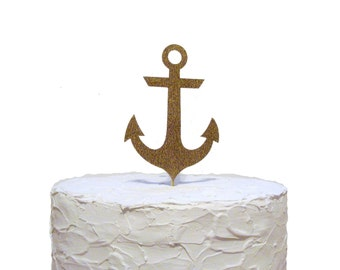 Glitter Gold Anchor Cake Topper, Nautical Baby Shower Party Decorations, Beach Wedding