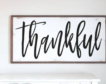 Thankful Wood Sign, Thankful Framed Sign, Farmhouse Decor, Modern Farmhouse, Fixer Upper Style, Thanksgiving Wood Sign, Entryway Sign