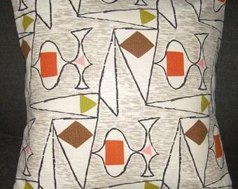 """Atomic Pillow 1950's Barkcloth """"Voyage"""" Retro Eames Era  Mad Men Spaceage"""