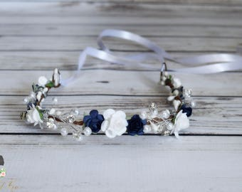 Handcrafted Navy Blue and White Pearled Rose Flower Crown - Rhinestone Bridal Flower Crown - Wedding Accessory - Flower Girl Crown - Holiday