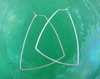 Sterling Silver Triangle Hoops Triangle Earrings Geometric Shape Earrings Hammered Wire Jewelry Lightweight Thin Hoops