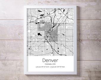 Denver, Colorado Map Wall Art Prints