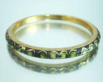 Brass Enameled Bracelet Green Gold Decorative Bangle Vintage