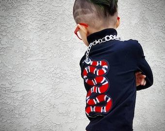 Boy T-Shirt, Girls T-shirt, Kids T-shirt, Boys Tee, Girl Tee, Long Sleeve Tee, Kids Tee, Toddler Shirt, Snake Patch Tee, Snake Shirt.