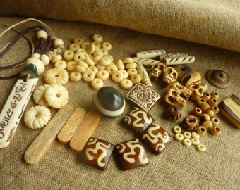 Set bead bone - various * 0.6 cm 4.3 cm *.
