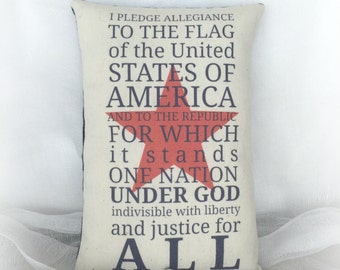 I Pledge Allegiance Accent Pillow | Patriotic holiday decoration | USA decor | red white blue | Patriotic pillow | Patriotic home decor