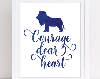 CS Lewis, Courage Dear Heart, Narnia Quotes, Narnia Wall Art, Navy Wall Art, Lion Print, INSTANT DOWNLOAD, Motivational Print, Boys Room
