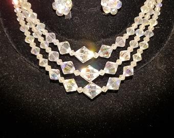Jewelry set 1950's Aurora Borealis beads
