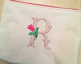 Embroidered Zipper Pouch-Tulip Initial (Made to Order)