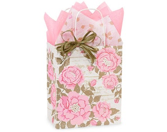 Pink  Cottage Rose Garden Shopping Bags, Small favor bags, gift bags, wedding, shower, hostess gifts,