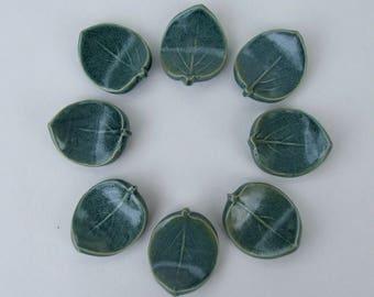 Ceramic ChopStick/ Pen Rests, Hand Made, Set of Eight Leaf, Antique Blue