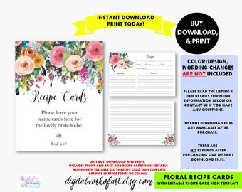 Floral Recipe Cards and Sign, Editable PDF Recipe Card Sign, Flower Boho Bridal Baby Shower, Kitchen Cooking Card, PDF Instant Download,