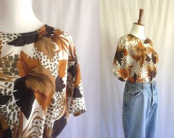 Vintage palm leaf print blouse / oversized short sleeve slouchy top