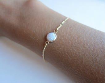Opal bracelet. Gold birthstone bracelet, gemstone, minimal jewelry. Chain bracelet.