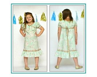 Girls Hawaiian Dress - Island Clothing - Luau Dress - Rock-A-Hula Beach Dress - Mint Mermaids