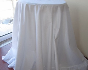 """90"""" large round Tablecloth white cotton white or ivory eyelet ruffled around shabby chic country cottage style wedding table cloth"""