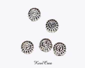 20/50 small spacer beads round flat 5mm silver plated