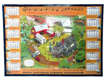 Servel Electrolux 1937 Wall Calendar Old MacDonald Had a Farm E-I-E-I-O 12 Month Advertising Calendar Funny Farmer Humorous FARM SCENE