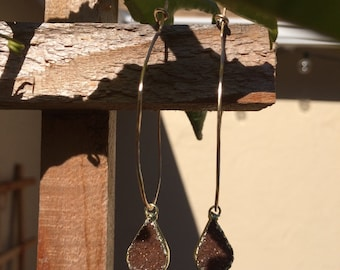 Hand hammered Gold filled hoops with druzy drop gemstones