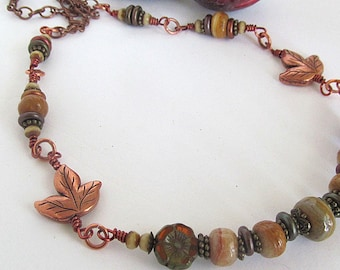 Painted Desert Vintage Banded Agate Necklace, Copper Leaf, Earthy Jewelry, Autumn Necklace, Bohemian Gypsy, Moonlilydesigns, Soap Stone