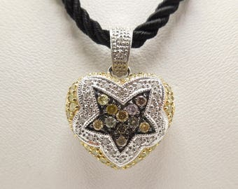18K Yellow and White Gold Diamond Heart Necklace