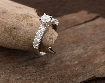On sale!!! Cluster engagement ring-Diamond Engagement Ring 1.30 ct-14K white Gold-Promise ring-Anniversary ring- Art nouveau engagement ring